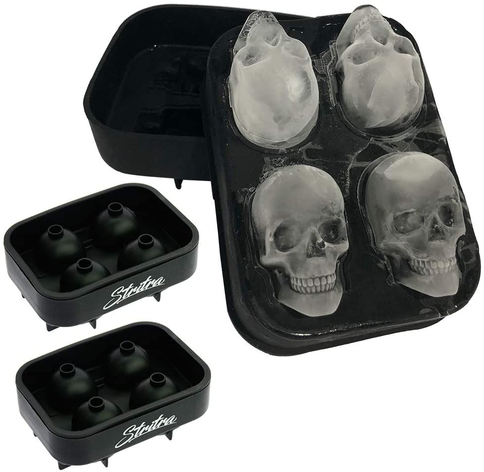 Pack of 2 3D Skull shaped and Sphere Ice Mold Silicone Tray for Whiskey//Cocktails//parties//Christmas Black 100/% BPA free