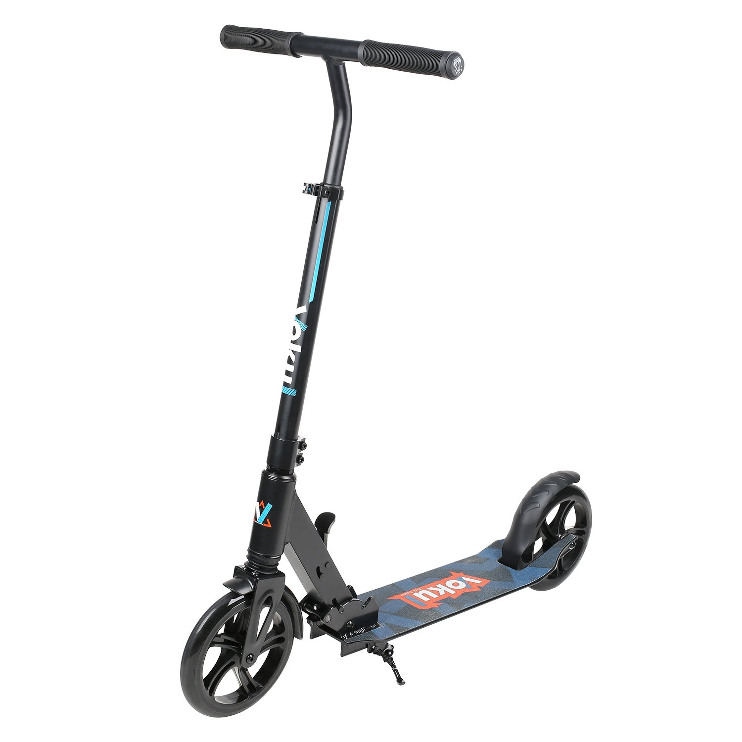 Vokul Foldable 2 Big Wheel City Urban Scooter with Adjustable Height/Kick Stand, up to 100kg/220lbs-Black