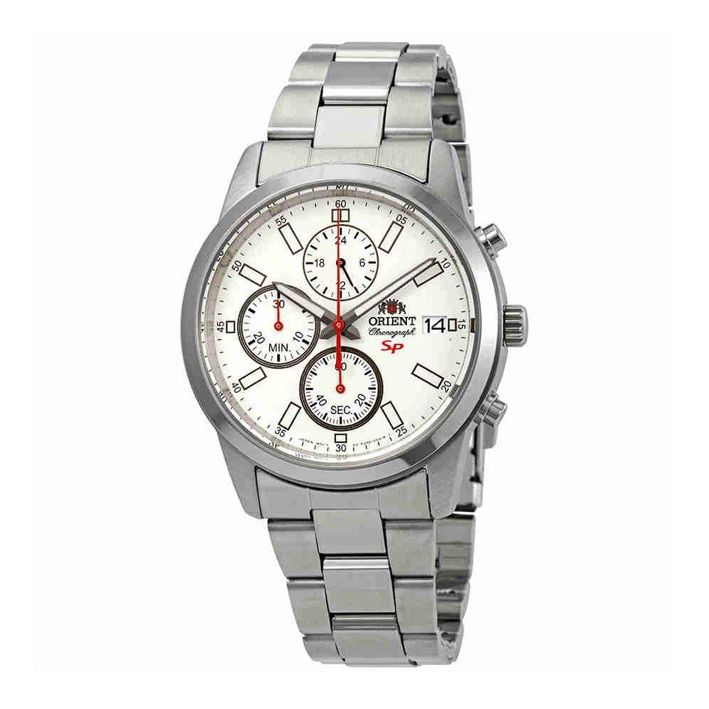 Orientスポーティーなクロノグラフホワイトダイヤルメンズ時計fku00003 W B07DKWSYPF