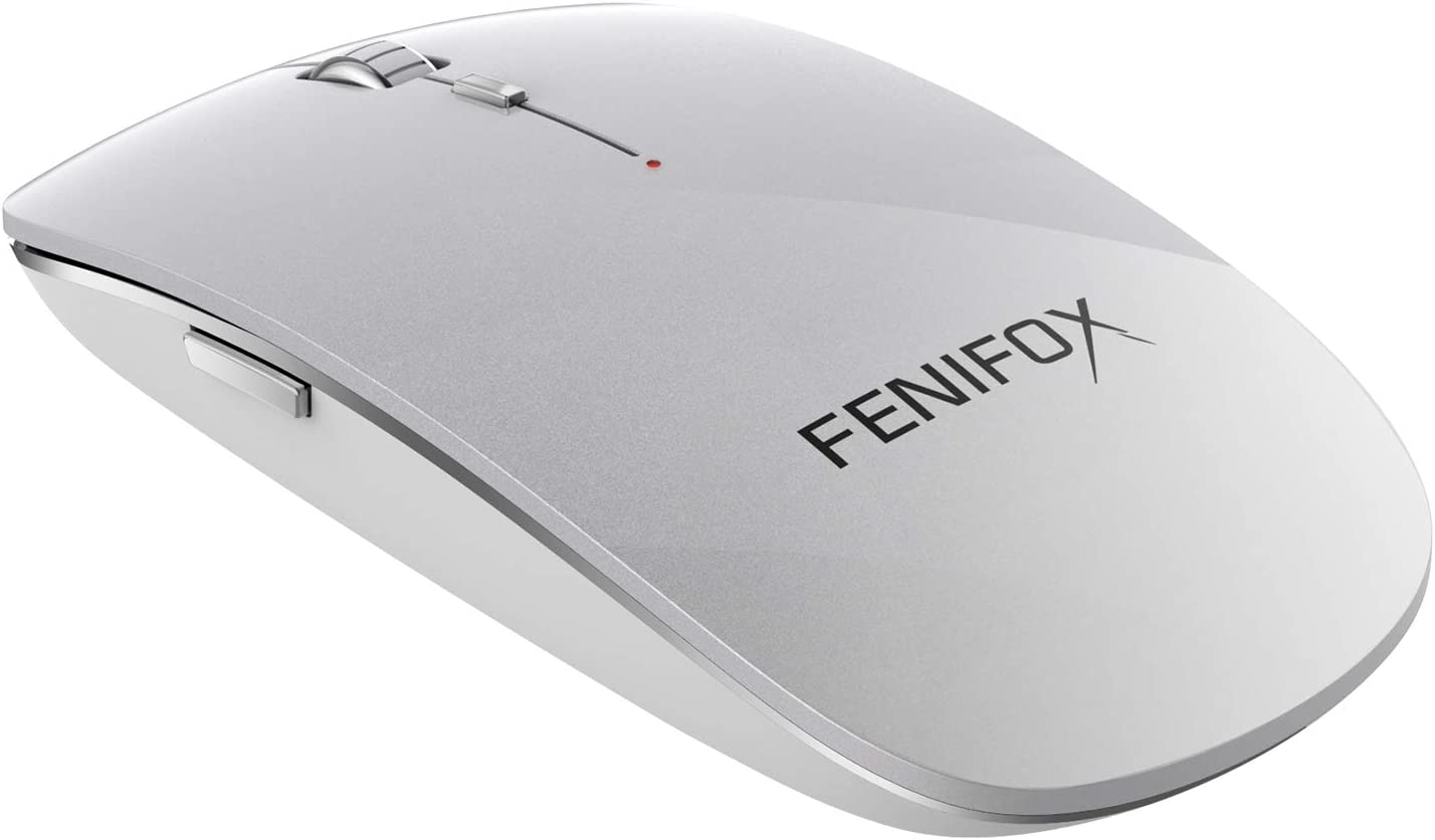 Bluetooth Mouse,FENIFOX Travel Portable Slim Optical Quiet Mice,Compatible with Mac Windows Android Computer PC Laptop Table 4 Adjustable 2400DPI(Silver White)
