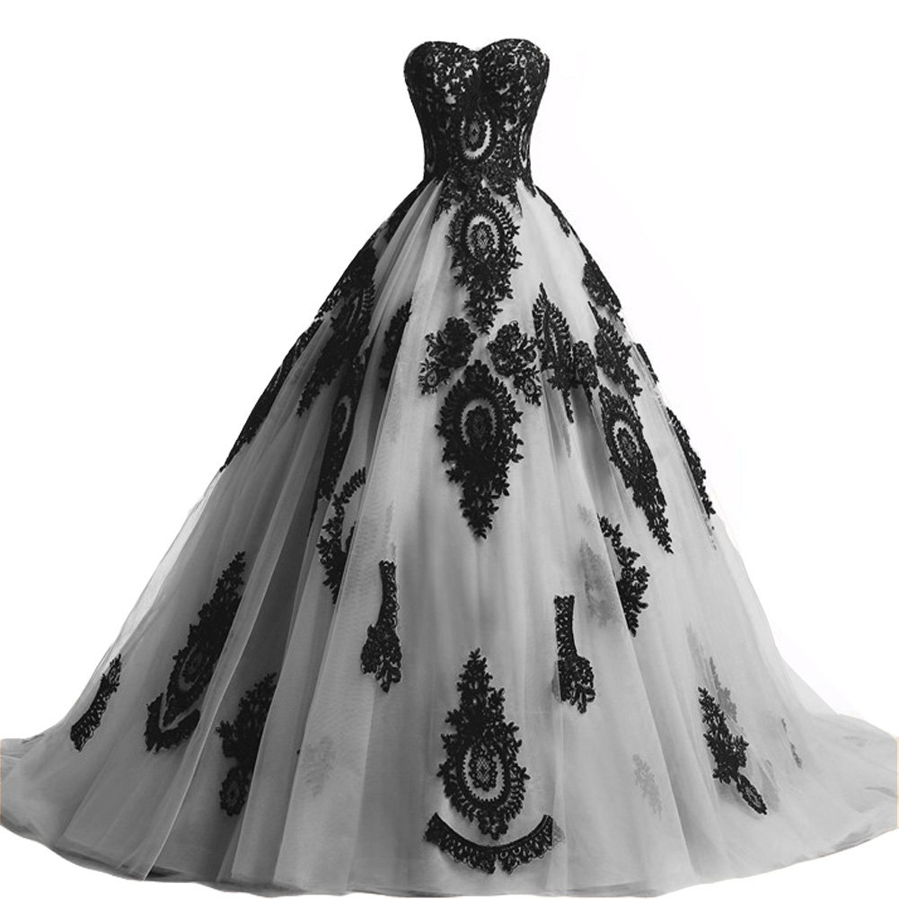 Black Lace Long Tulle A Line Prom Dresses Evening Party Corset Gothic Wedding Gowns Silver US 20W