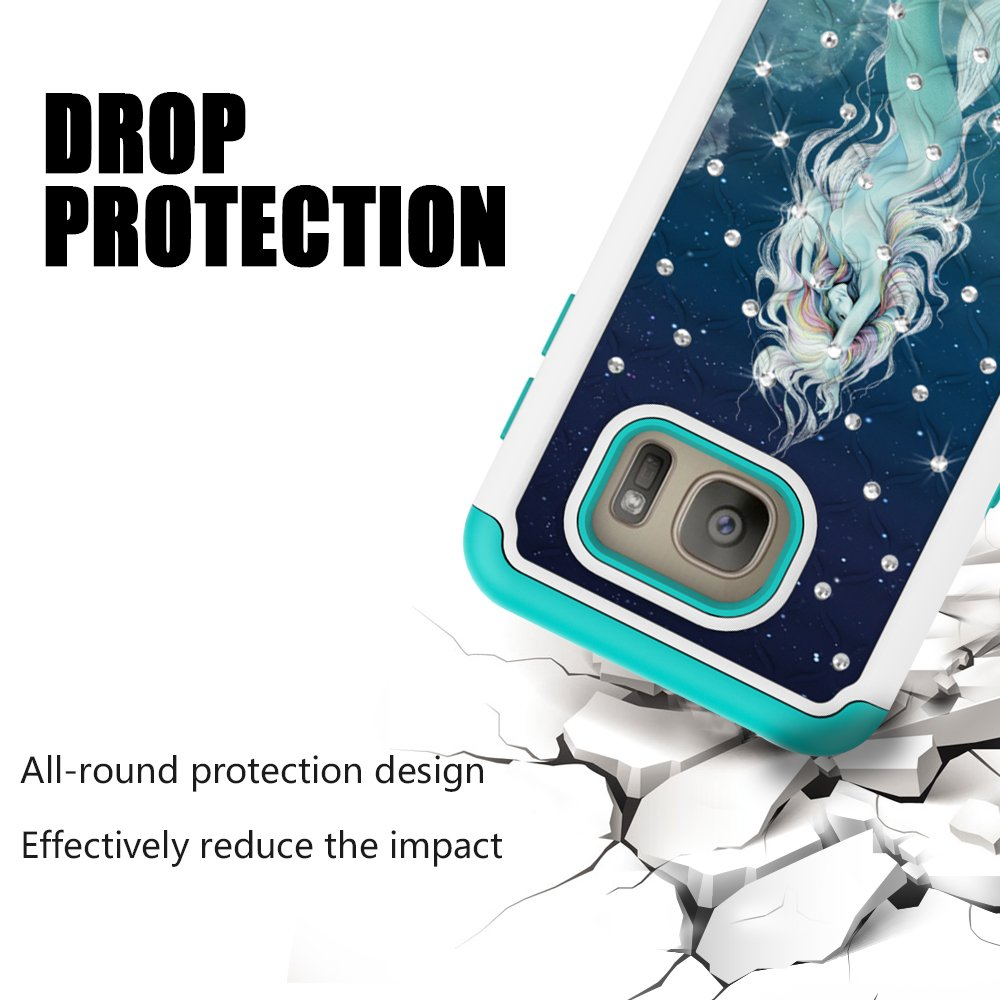 Galaxy S7 Case, MagicSky [Shock Absorption] Studded Rhinestone Bling Hybrid Dual Layer Armor Defender Protective Case Cover for Samsung Galaxy S7 (Mermaid)