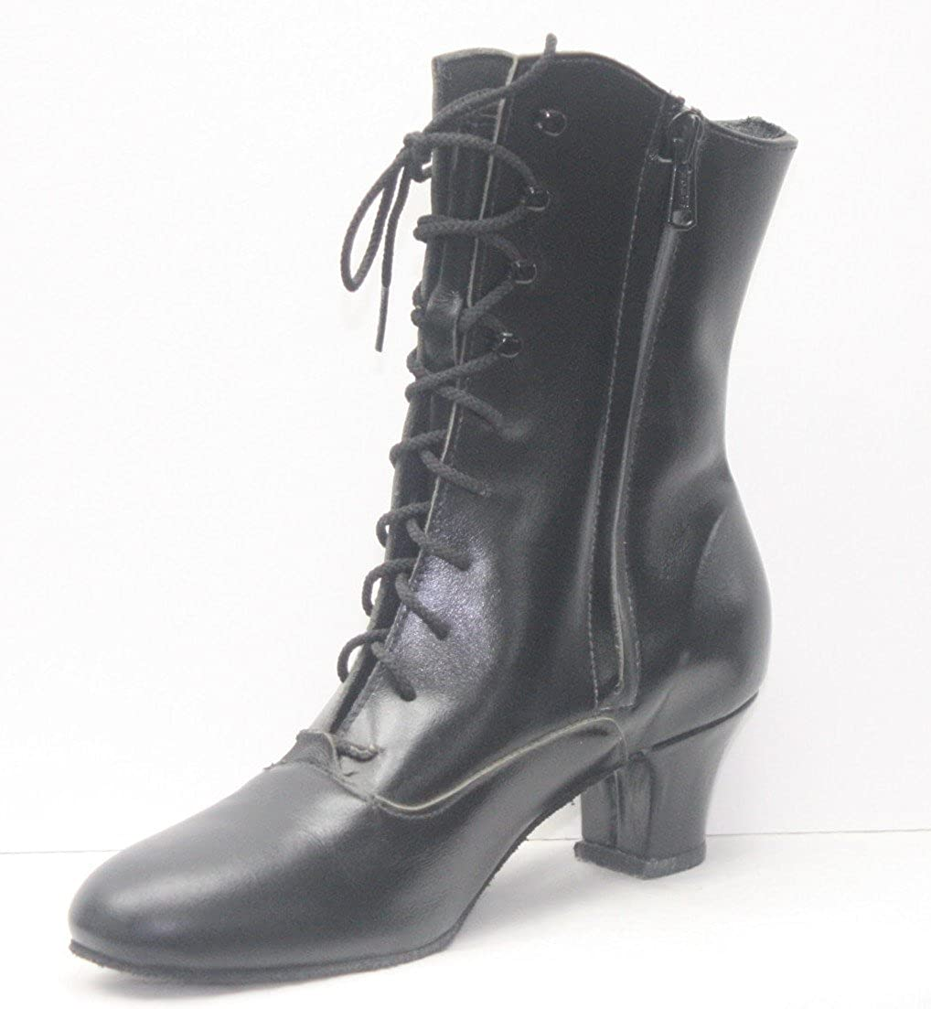 Vintage Dance Shoes- Where to Buy Them Soffie Dance Leather Period Boot-Made in USA TicTacToes Womens  $160.00 AT vintagedancer.com