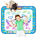 Markbetter Aqua Doodle Mat Reusable Water-Reveal Activity Mat Extra Large Size Multi-Color Water Coloring Pad 38.4''X29.5'' Aqua Drawing Toy Kits with Bonus Painting Tools for Kids to Enjoy Together