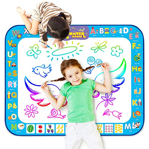 Doodle Activity (Markbetter Aqua Doodle Mat Reusable Water-Reveal Activity Mat Extra Large Size Multi-Color Water Coloring Pad 38.4''X29.5'' Aqua Drawing Toy Kits with Bonus Painting Tools for Kids to Enjoy Together)