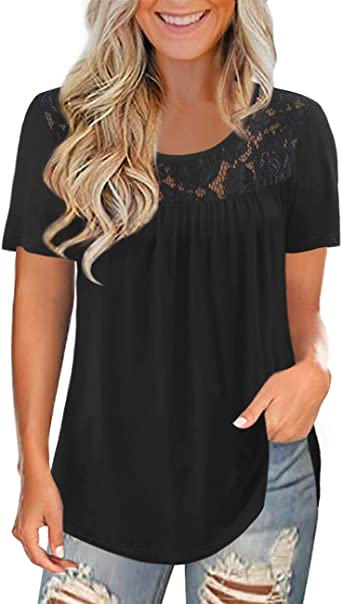 LETDIOSTO Women's Plus Size Short Sleeve Lace Pleated Shirts Summer Blouses Tunic Tops M-4XL