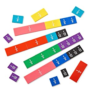 hand2mind Plastic Double-Sided Fraction and Decimal Tiles, Montessori Math Materials for Kids to Learn Fraction Equivalence Math Manipulatives 4th Grade Math, Homeschool Supplies (Set of 51)