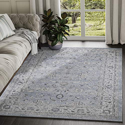 ABANI Floral Pattern Vintage Style Area Rug - 4x6, 100% Polypropylene, Turkish, Machine Made, Blue & Grey, Troy Collection (TRY110A-4)