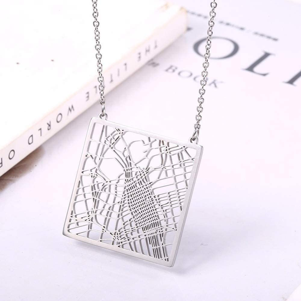 SWAOOS Map Jewelry American California Los Angeles Map Pendant Necklace Your Hometown Ca State Outline Necklace
