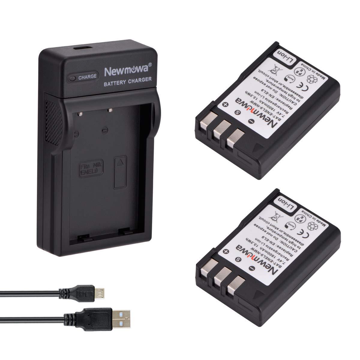 Newmowa EN-EL9 EN-EL9A Batería (2-Pack) y Kit Cargador Micro ...