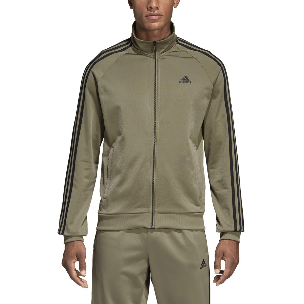 adidas Essentials 3S Tricot Track Jacket Men's All Sports M Trace Cargo
