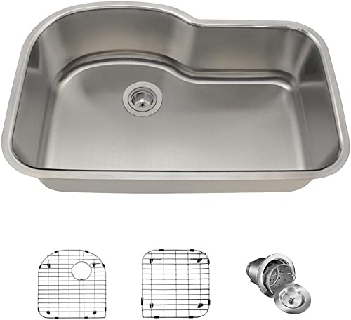 346 16 Gauge Stainless Steel Kitchen Ensemble Bundle – 4 Items Sink, Basket Strainer, and 2 Sink Grids