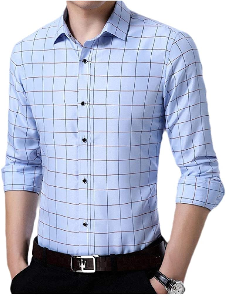 Mfasica Mens Silm Fit Plaid Long Sleeve Casual Bussiness Gentleman Shirt