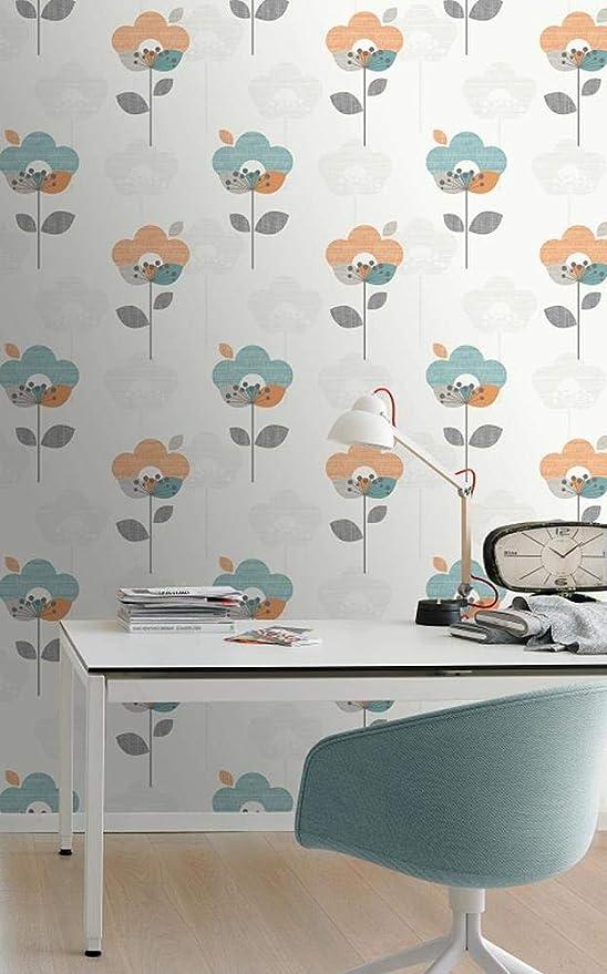 Rasch Teal Orange Retro Flowers Leaf Floral Wallpaper Modern Feature Washable