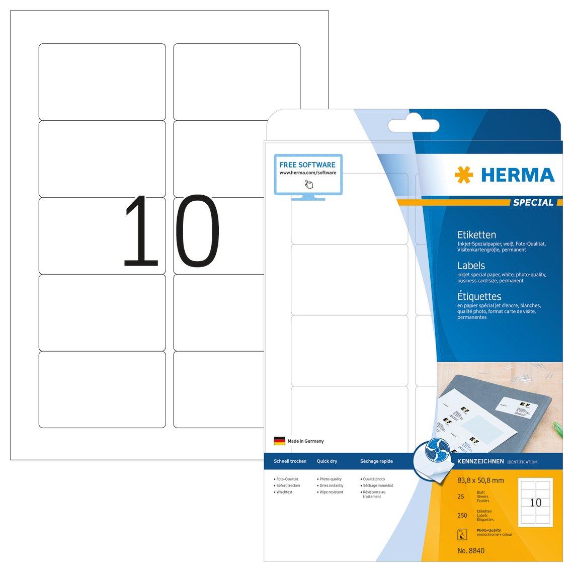 Herma 8840 /Étiquettes jet dencre 83,8 x 50,8 A4 250 pi/èces Blanc