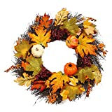 Icocol Decorative Front Door Wreath 24 Inch - Year Round Beautiful Silk Wreath Transforms Front Door Decor, Handcrafted with Care, Storage Gift Box Included (J)