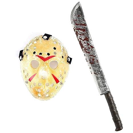 a901678c382f KIT MASCHERA JASON + MACHETE INSANGUINATO DA 75 CM - Hockey Halloween  Venerdì 13