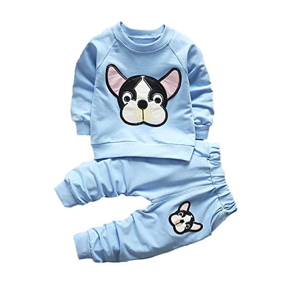 50cf8230c148 Zhen+ 2pcs Unisex Baby Kleidung Set Langarm Pullover Cartoon Hund ...