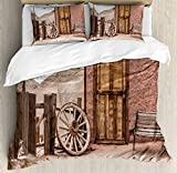 Ambesonne Barn Wood Wagon Wheel Duvet Cover Set King Size, Abandoned Old Farmhouse Doorway Traditional Rustic Outdoors, Decorative 3 Piece Bedding Set with 2 Pillow Shams, Umber Light Brown