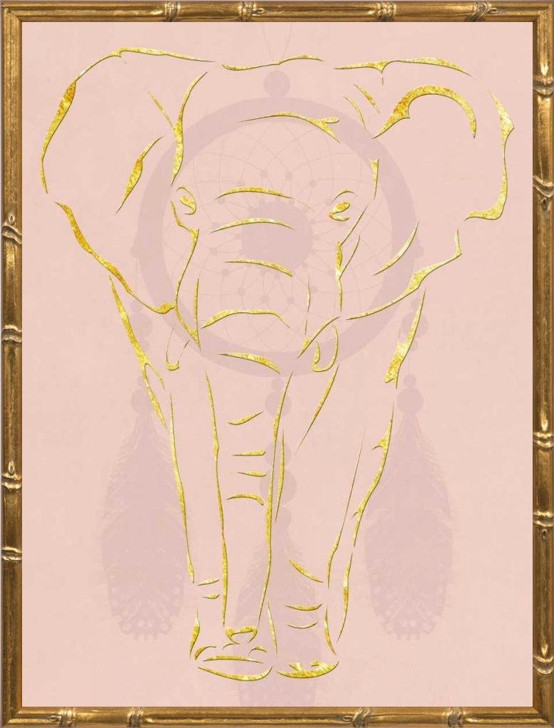 18x24 Pearlyphant by Lewis, Sheldon: Gold Bamboo SLB-RC-426A
