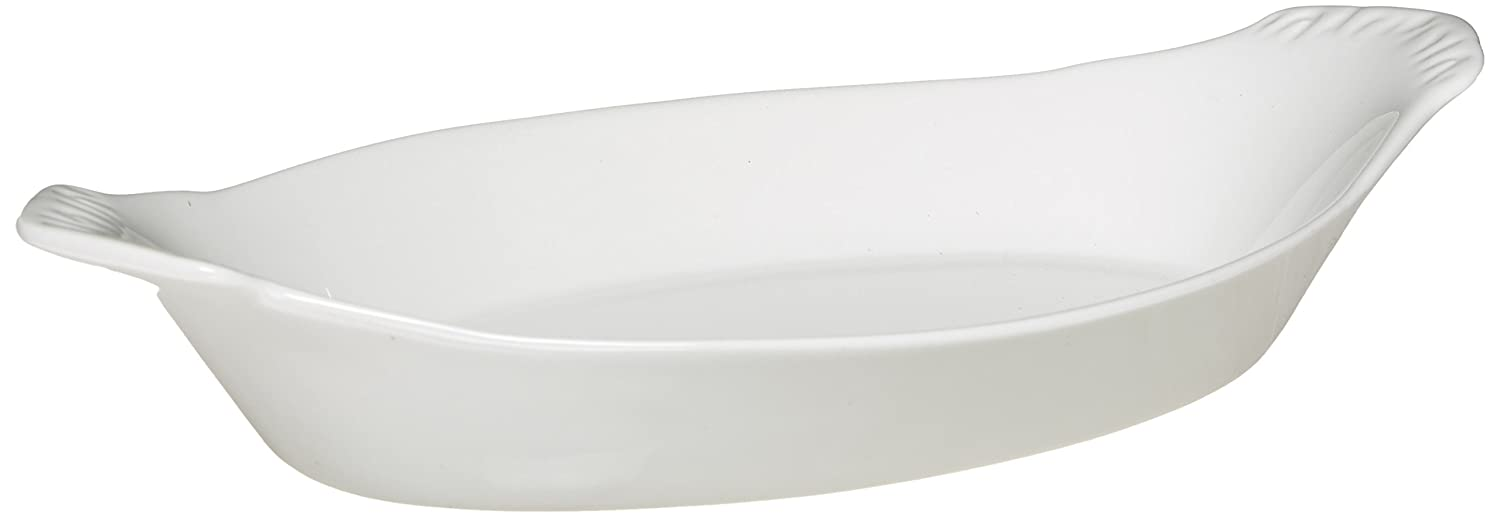 Maxwell and Williams P017323 Basics Oval Au Gratin Dish, 7-Inch, White Fitz and Floyd