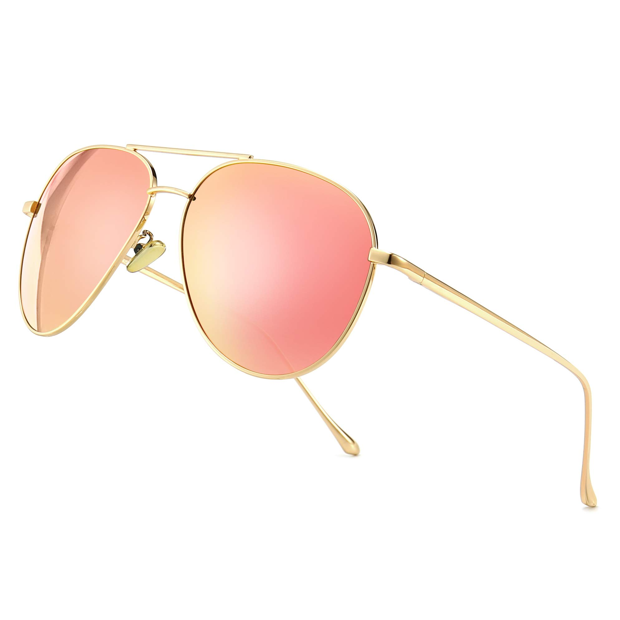 SUNGAIT Women's Lightweight Oversized Aviator Sunglasses - Mirrored Polarized Lens (Light-Gold Frame/Pink Mirror Lens, 60)1603JKF by SUNGAIT