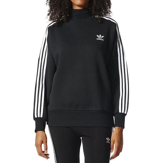 19278d120 Adidas Originals 3-Stripes Turtle Neck Women's Sweatshirt Black/White  bj8172 (Size XL