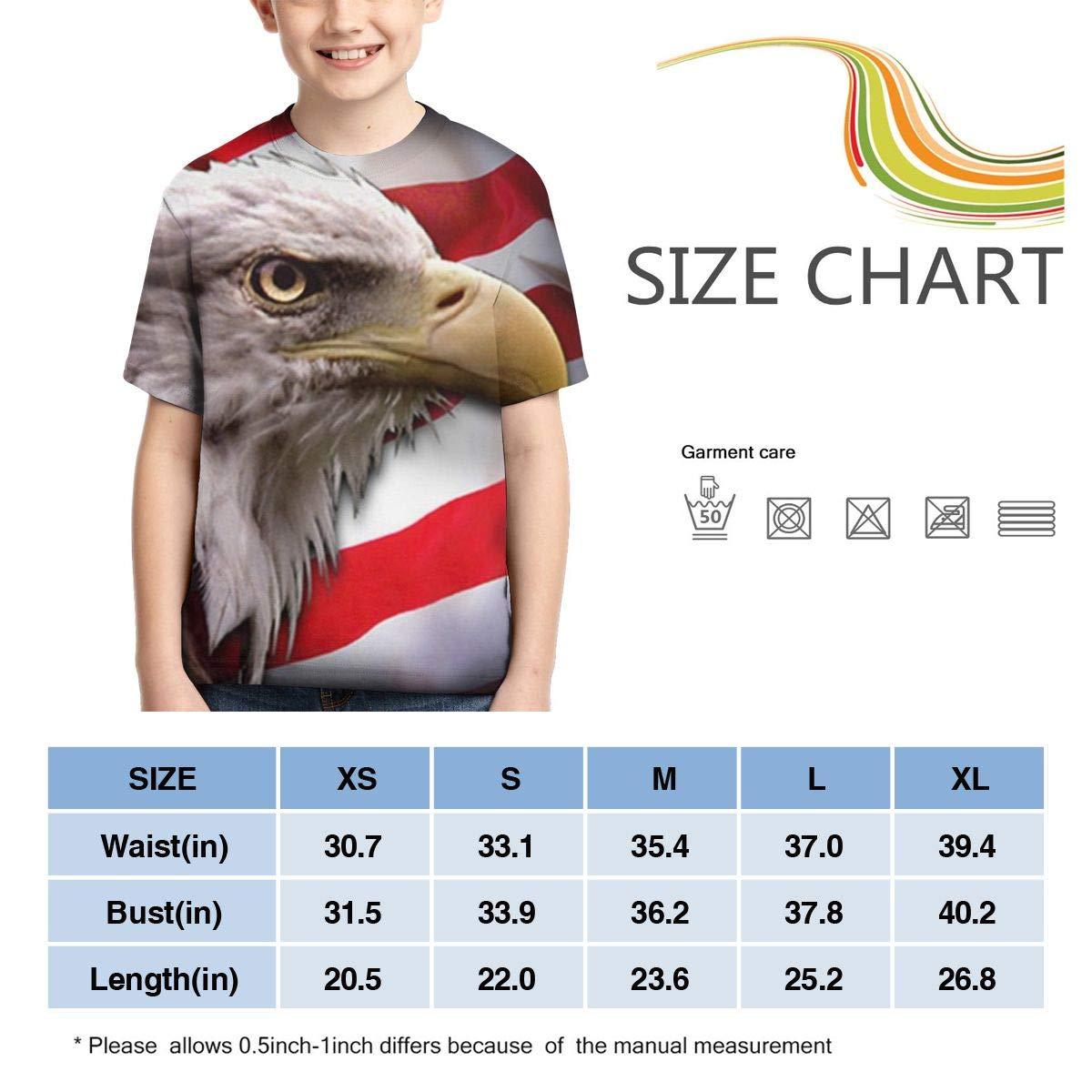 American Eagle Flag Unisex Children Teens Crewneck Short Sleeved T-Shirt Girl Boys Graphic Tee Shirt Tops S