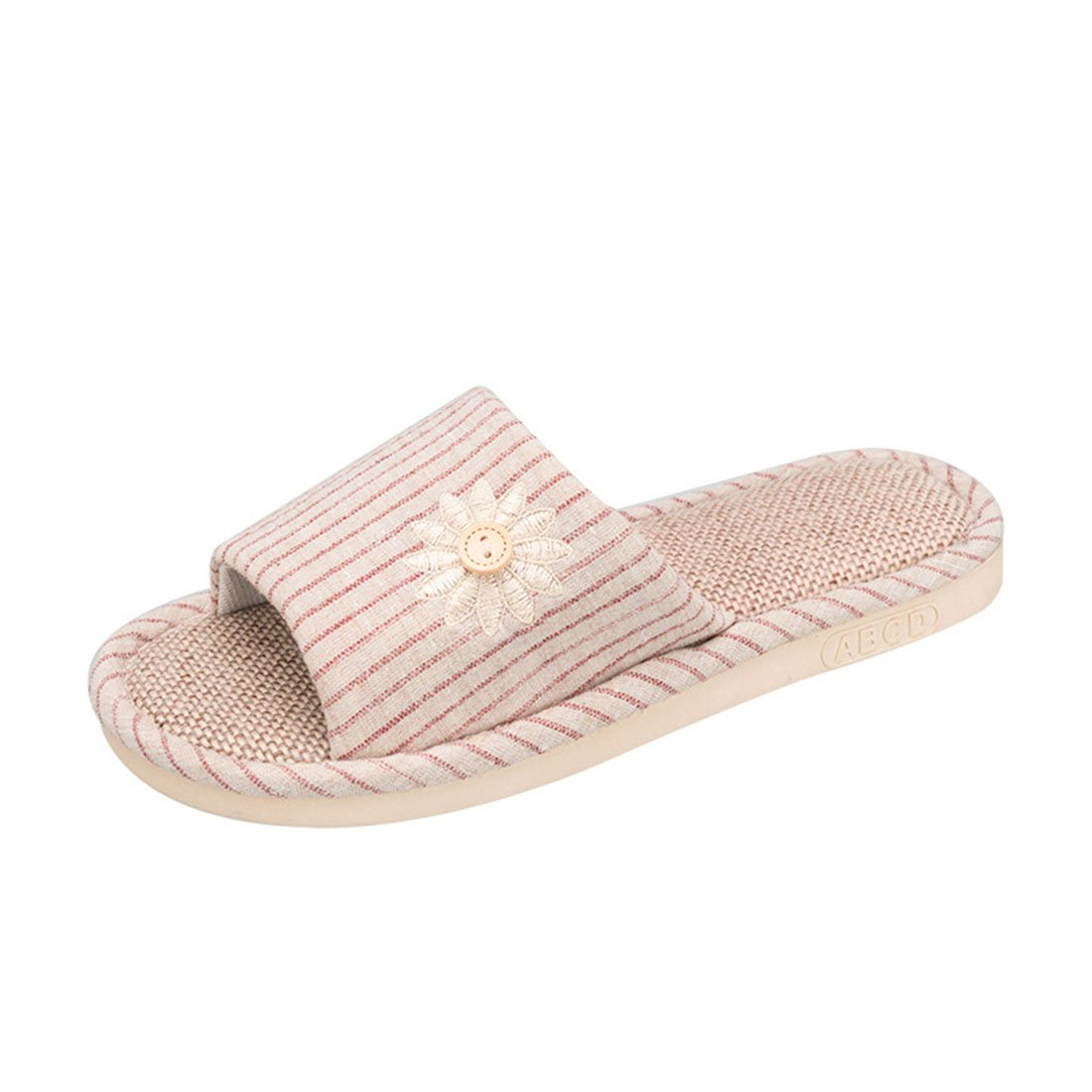 Rockynice House Slipper Unisex Striped Linen Skidproof House Slippers for Travel House Hotel Spa Bedroom (Women:8.5-10 M US/10.24 inch, Light red)