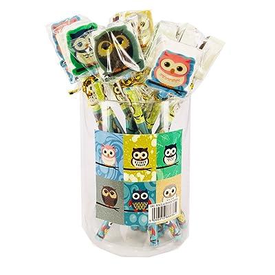 24 x Crayons Avec Gomme Hibou┃L'anniversaire d'enfant┃Petit cadeau | Fourniture scolaire