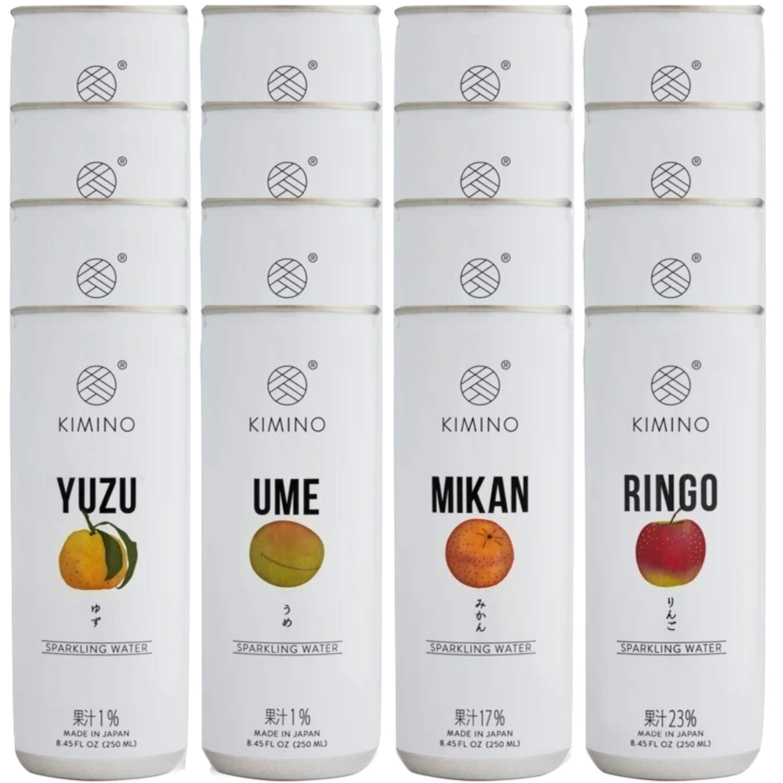 Kimino Japanese Premium Sparkling Water Variety Packs, Ume (Plum), Ringo (Apple), Yuzu, Mikan, 8.45 oz (Pack of 16)