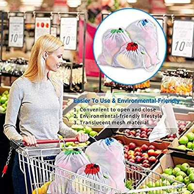Reusable Mesh Produce Bags-Set of 7- Premium, Eco-Friendly, Washable, Ultra strong, with Tare Weight on Tags, Lightweight and Transparent with Drawstring for Grocery, Large, Medium & Small.