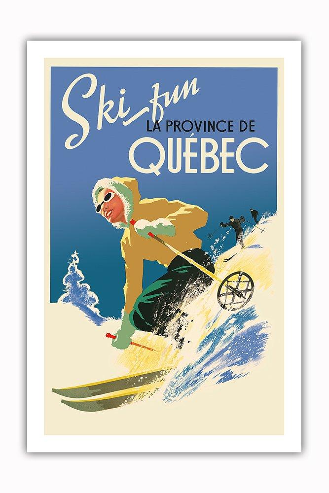 ケベック州、カナダ ケベック州のプロヴァンスでのスキーファン ビンテージな世界旅行のポスター c.1930 アートポスター 51cm x 66cm B07CS1GYKV 51cm x 66cm 51cm x 66cm