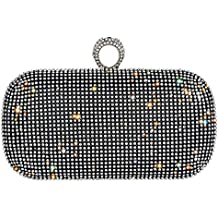 Bagood Women's Shining Rhinestones Square Shape Knuckles Evening Bag Hard Case Clutches Purses