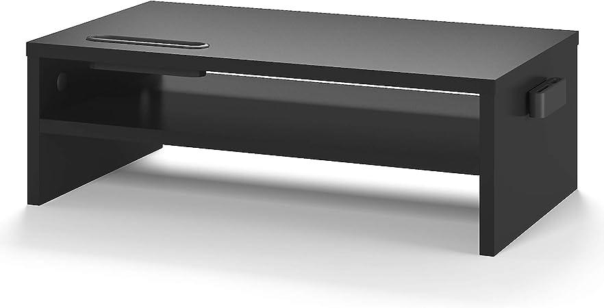BONTEC Soporte Monitor Mesa Elevador Monitor Soporte Monitor Ordenador 2 Niveles Negro, W420 x D235 x H142mm con Soporte para Teléfono Inteligente y ...