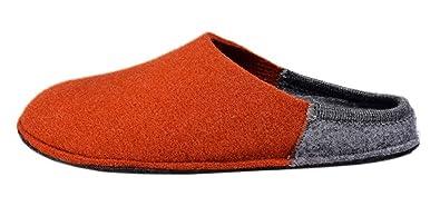 Le Clare Herren Winter-Hausschuh Aus Wollstoff mit ausziehbarer Einlegesohle Zweifarbig Orange/Hellgrau - Größe 46 SXx9n2Wa