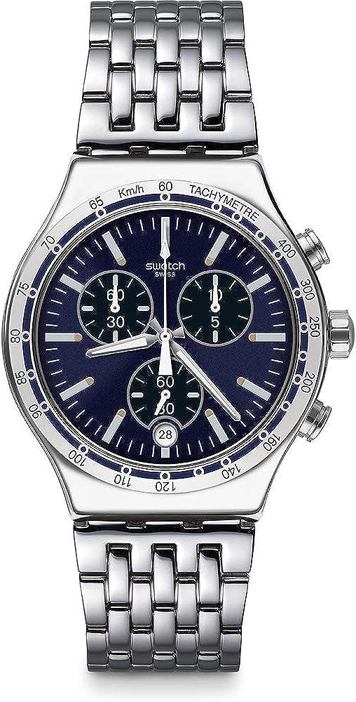 Swatch Reloj Cronógrafo para Hombre de Cuarzo con Correa en Acero Inoxidable YVS445G