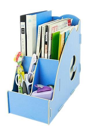 Bao core Soporte para archivadores, organizadores para escritorio, color Wooden B Blue: Amazon.es: Oficina y papelería