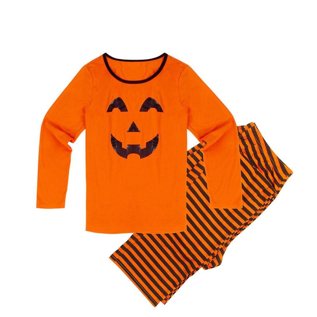 Jimmkey Halloween Pumpkin Family Pajamas Set Striped Sleepwear Nightwear Dad & Mom & Baby Pumpkin Smiley Face Casual Shirt + Pants Sweatshirt Tops Blouse Shirt
