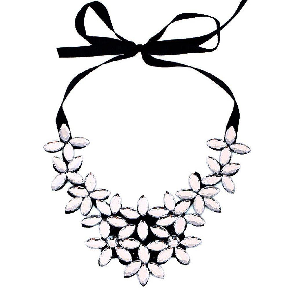 Bookear Flower Ribbon Chain Short Necklace Pendant Crystal Choker Chunky Collar (White)