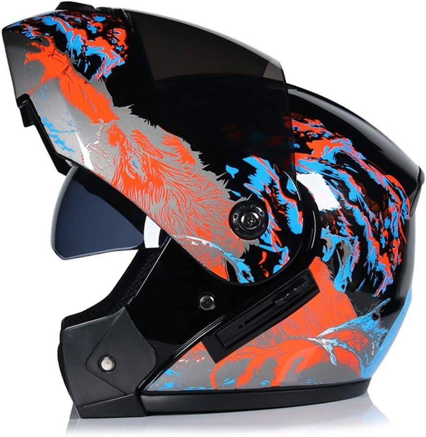 WWMH Klapp-Helm Motorrad-Helm Flip-Up Modular-Helm Integral-Helm Roller-Helm Full-Face Scooter-Helm f/ür M/änner und Frauen Outdoor-Radsportaktivit/äten,A,XL