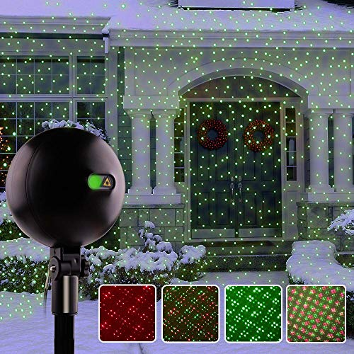 Christmas Lights, Laser Lights, Christmas Projector Lights Landscape Spotlights Waterproof Outdoor Xmas Light for Halloween Patio Yard Garden with Remote Controller (Color Changing)]()