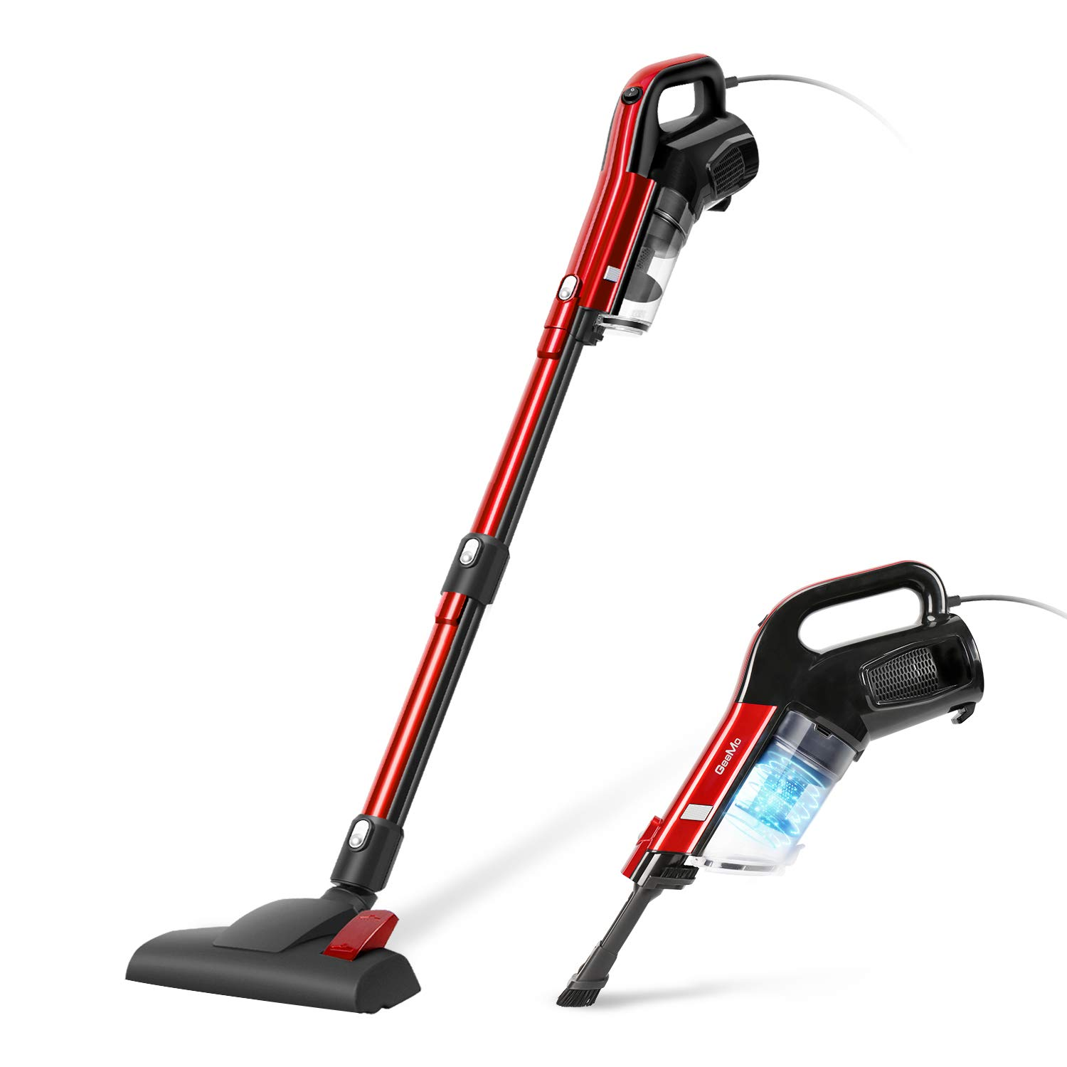 GeeMo Vacuum Cleaner 17Kpa 2 in 1 Handheld Corded Powerful Cleaning Lightweight True HEPA for Hard Floor H594 (RED-1)