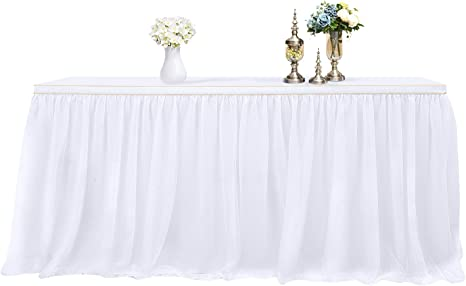 3 Yards High end Gold Brim 3 Layer Mesh Fluffy Tutu Table Skirt Tulle Tableware Table Cloth for Party Wedding Birthday Party Home Decoration Table Skirting White L9ft H 30in