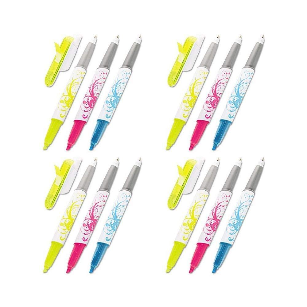 Flag+ Ballpoint Pen and Highlighter, Black Ink with Blue, Pink, and Yellow Flags, 50-Flags/Pen and Highlighter, 3-Pack - 691-HLP3 (4 Pack)
