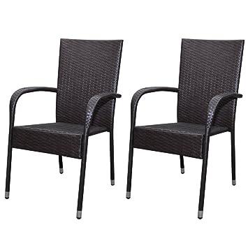 vidaXL 2x Poly Rattan Gartenmöbel Gartenstühle Esszimmerstühle ...