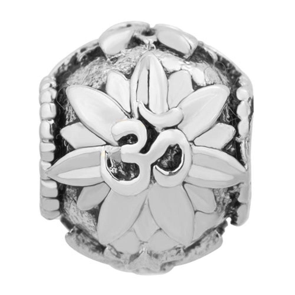 Breloque Sug Jasmin pour bracelet europ/éen En forme de fleur de lotus avec symbole sur le th/ème du yoga