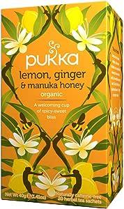Pukka Herbs Lemon, Ginger & Manuka Honey, Organic Herbal Tea Bags, 20 Tea Bags (Pack of 1)