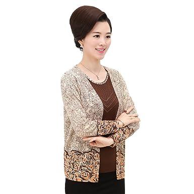 800fe809664e2 WEN TING Autumn Winter 2 pieces Set Printed Mother Sweater Elderly Women  Knit Sweater Cardigan Plus Size M L XL XXL XXXL at Amazon Women s Clothing  store