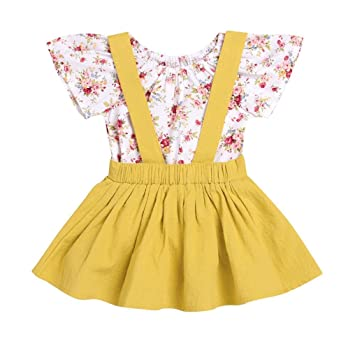 54bdd155b1e0 Image Unavailable. Image not available for. Color  FEITONG 2Pcs Infant Baby  Girls Floral Print Rompers Jumpsuit + Strap Skirt Outfits Set